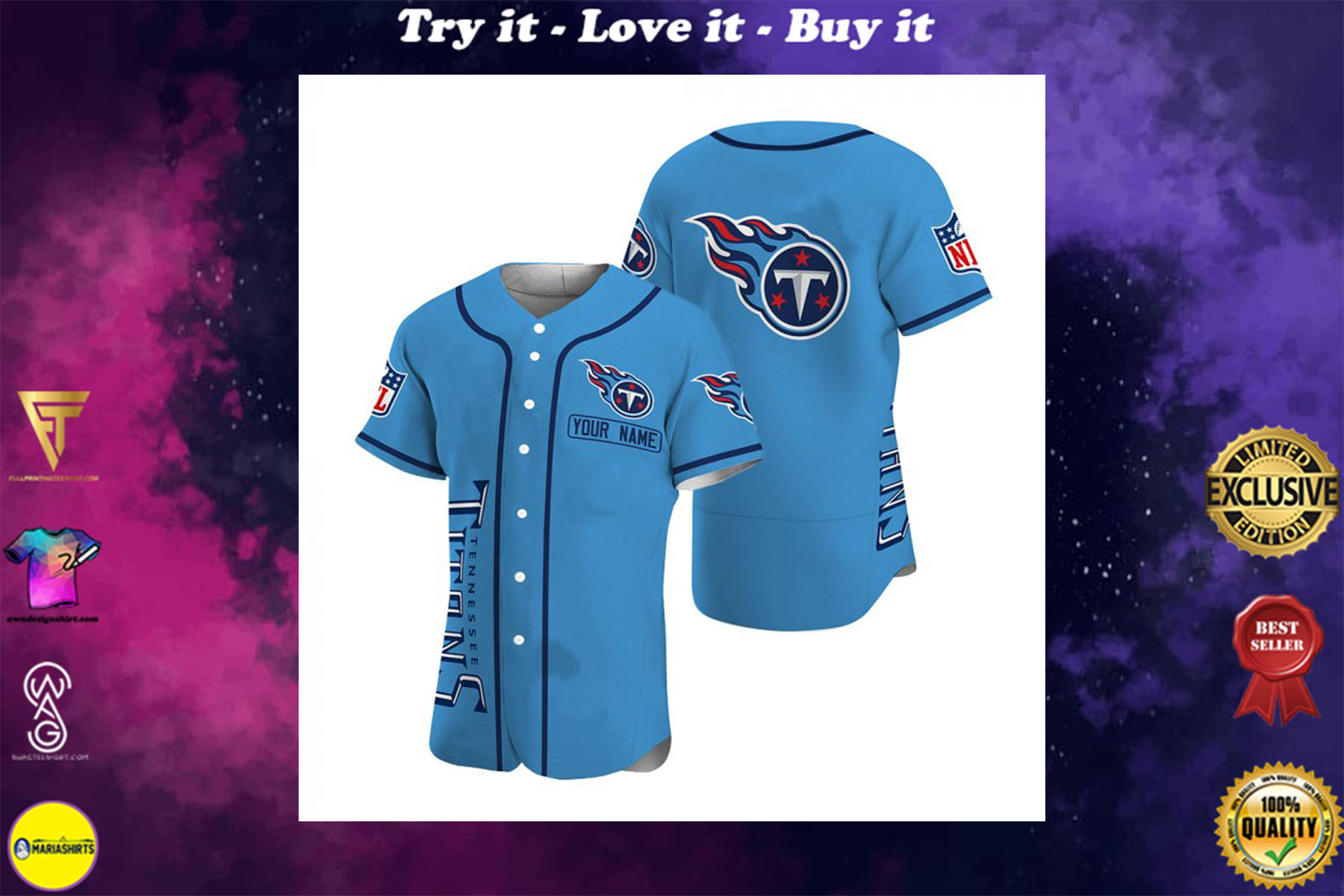 personalized name tennessee titans baseball shirt