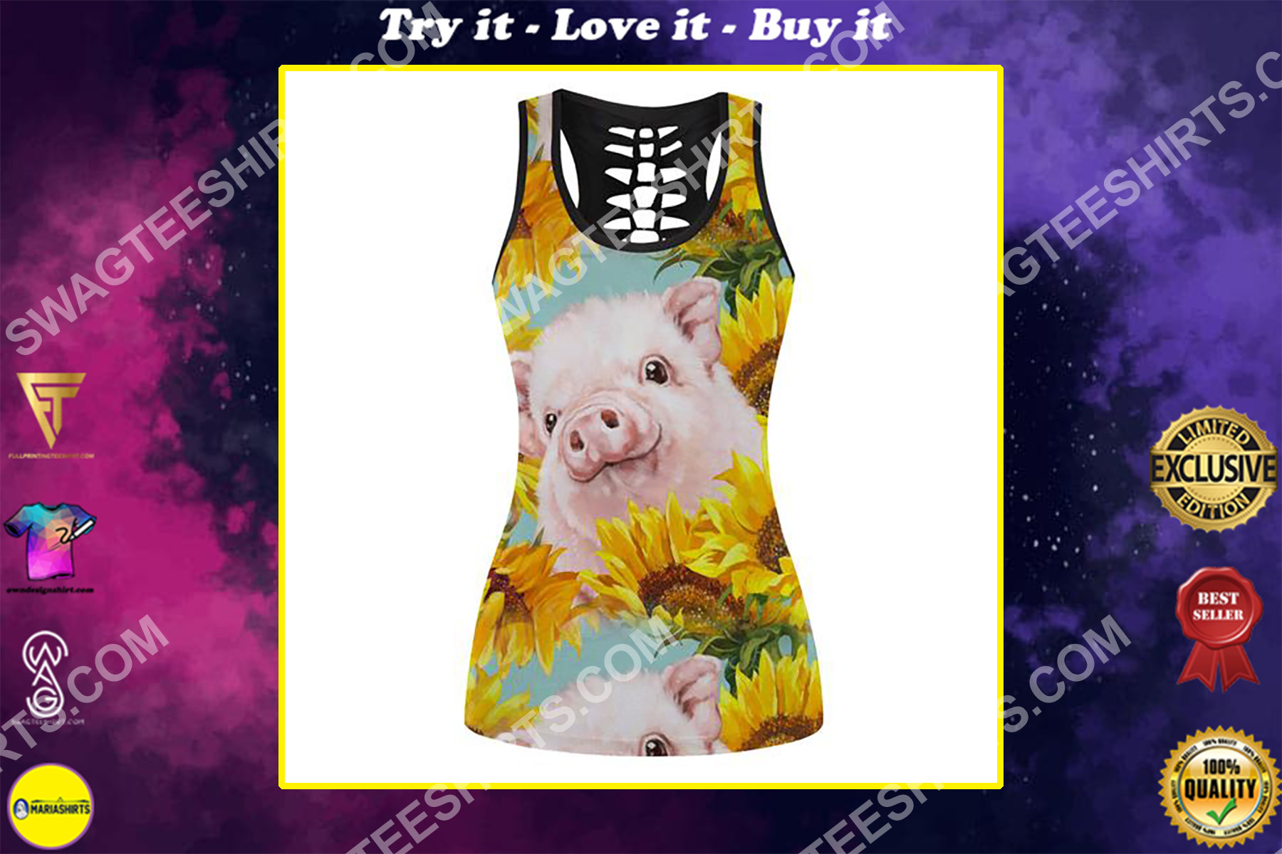 piggy and sunflower full printing hollow tank top