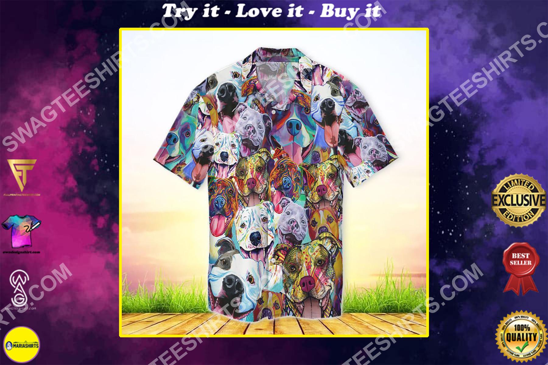 pitbull colorful all over printed hawaiian shirt