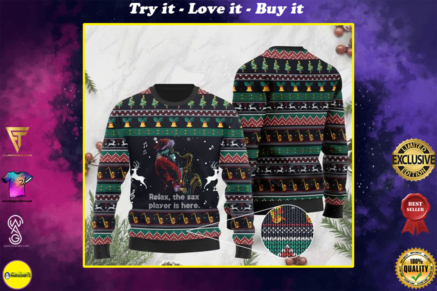 relax the sax player is here santa claus plays saxophone all over printed ugly christmas sweater