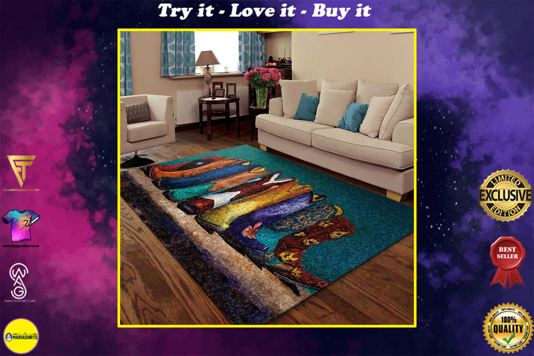 retro boots cowboy all over printed rug