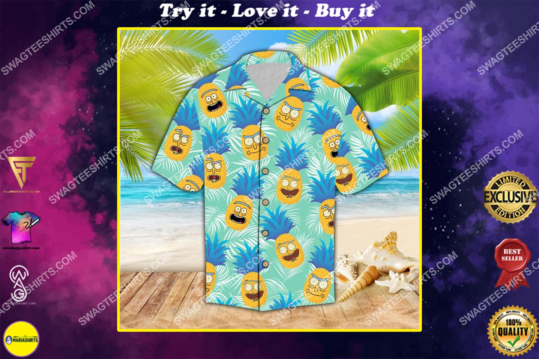 rick and morty pineapples all over print hawaiian shirt