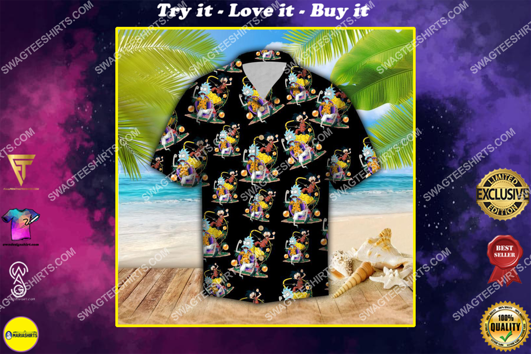 rick and morty show all over print hawaiian shirt