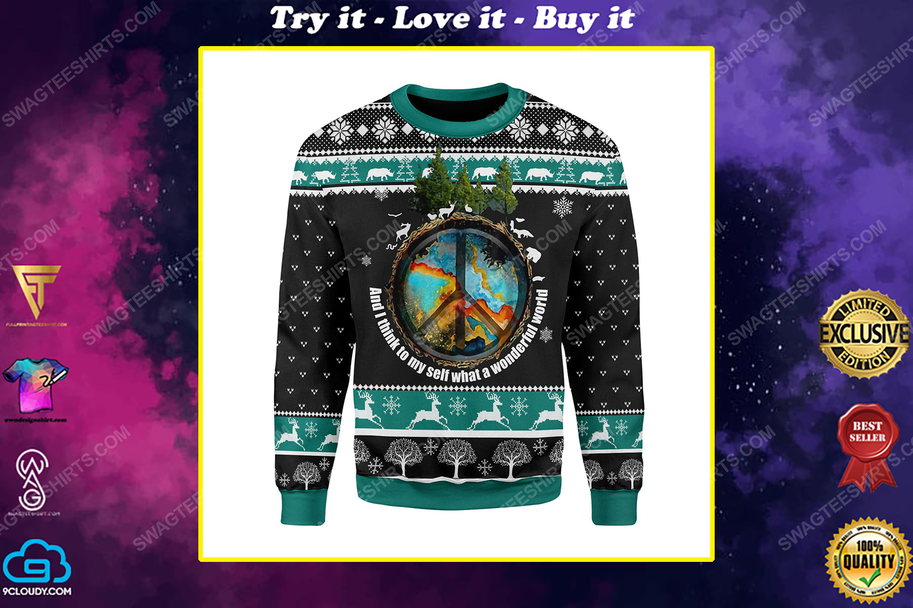 And i think to myself what a wonderful world ugly christmas sweater