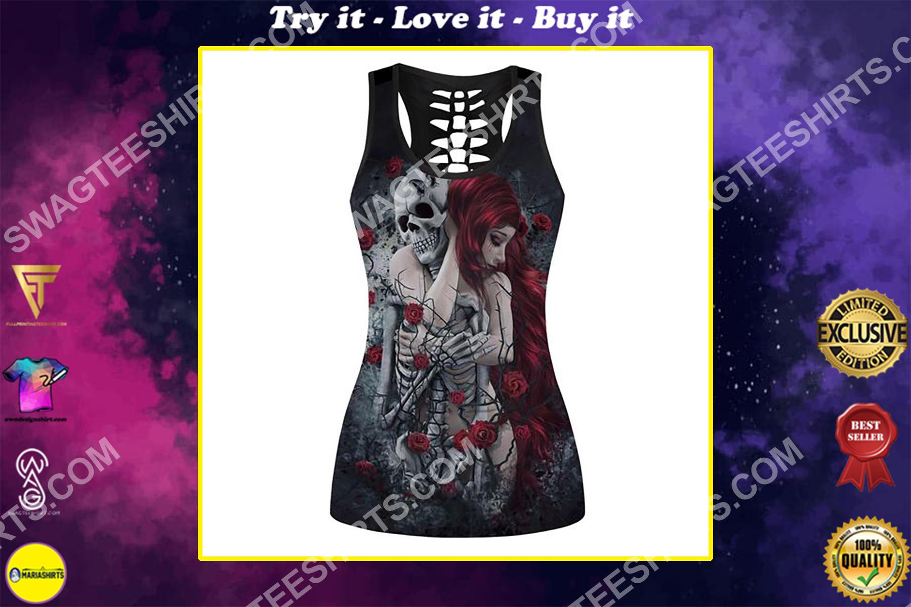 roses skull couple lover full printing hollow tank top
