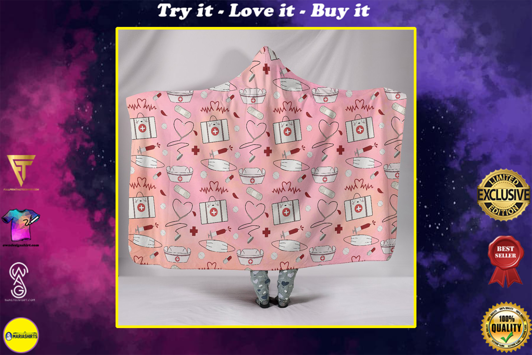 say thank you to nurse all over print hooded blanket