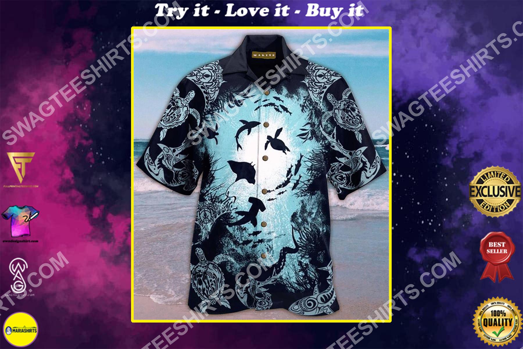 sea animals all over printing hawaiian shirt
