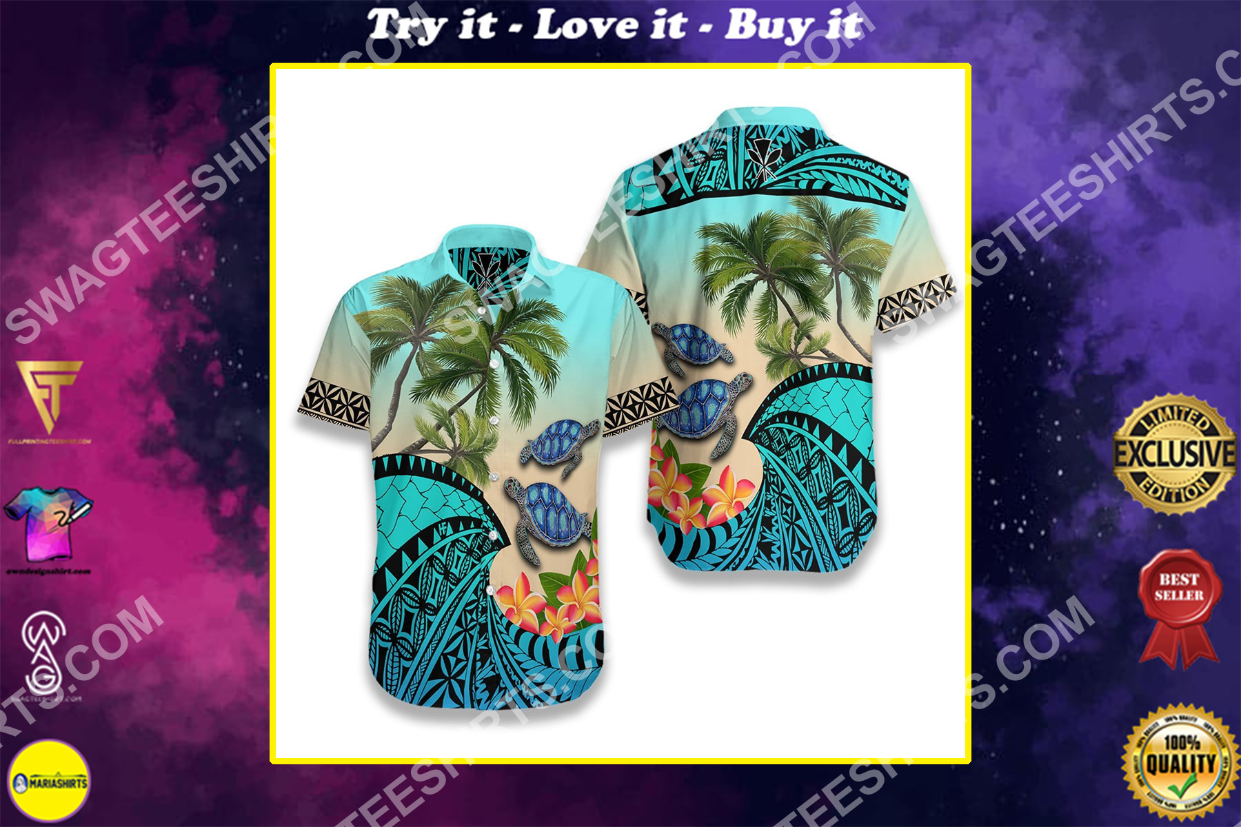 sea turtle coconut tree and plumeria all over printed hawaiian shirt