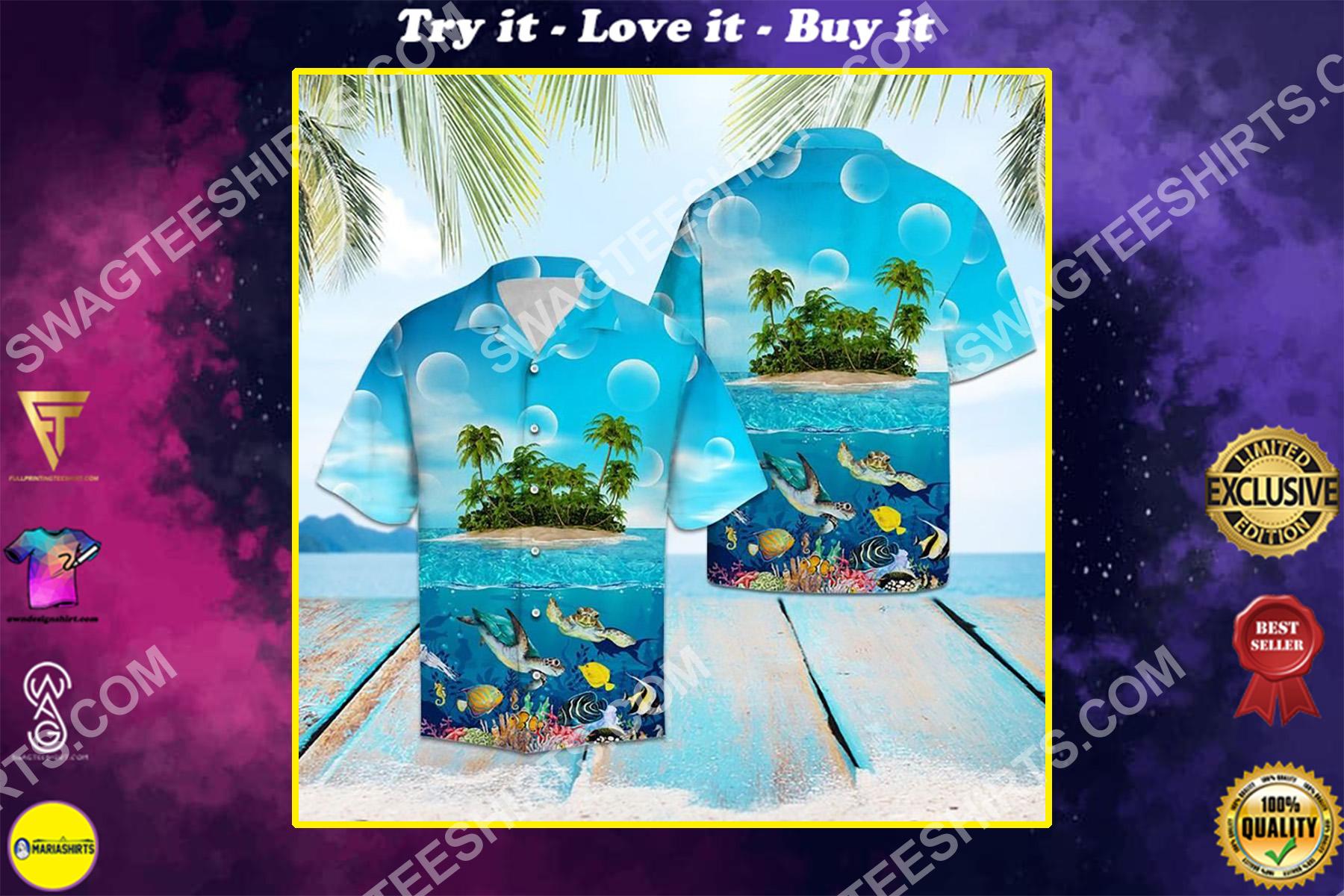 sea turtle island all over printed hawaiian shirt