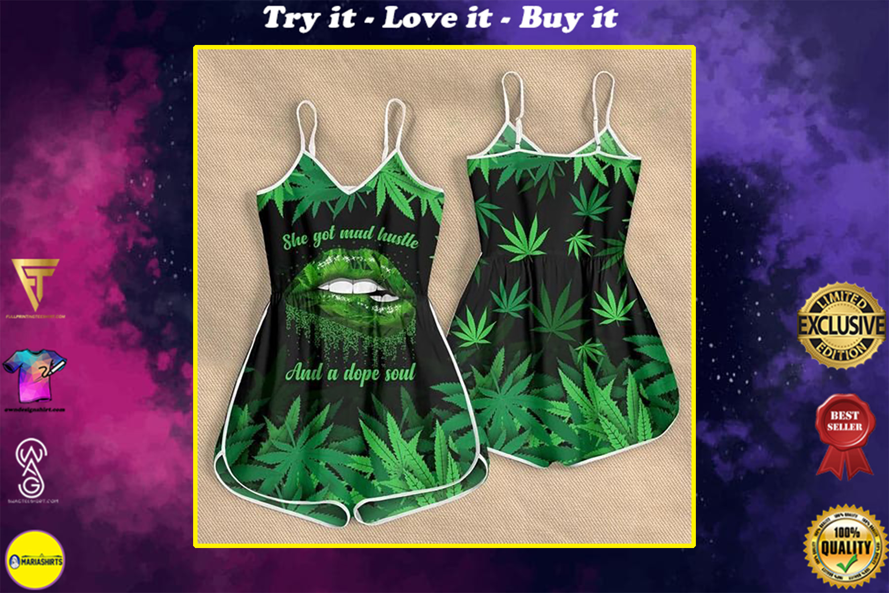 sexy lips she got mad hustle and a dope soul weed leaf rompers