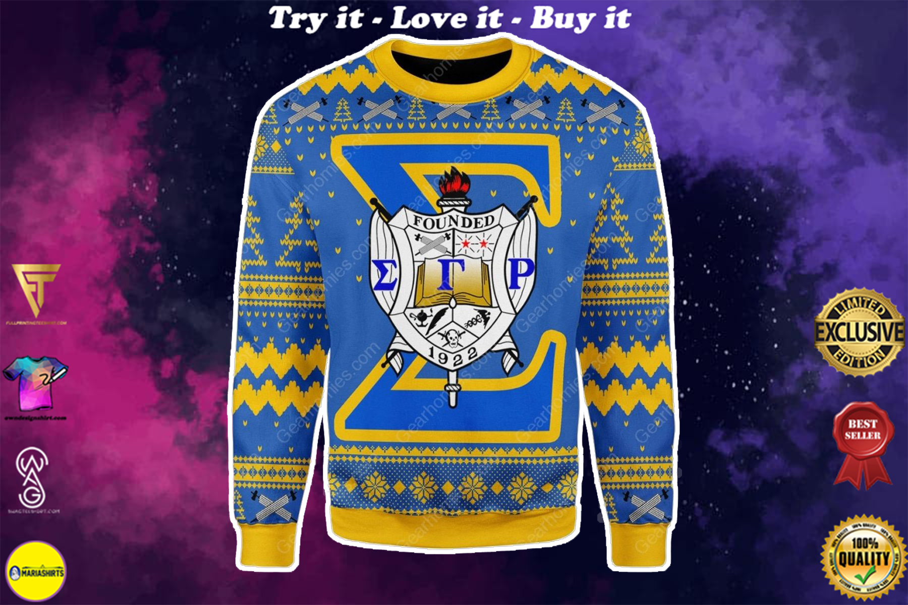 sigma gamma rho 1922 all over printed ugly christmas sweater