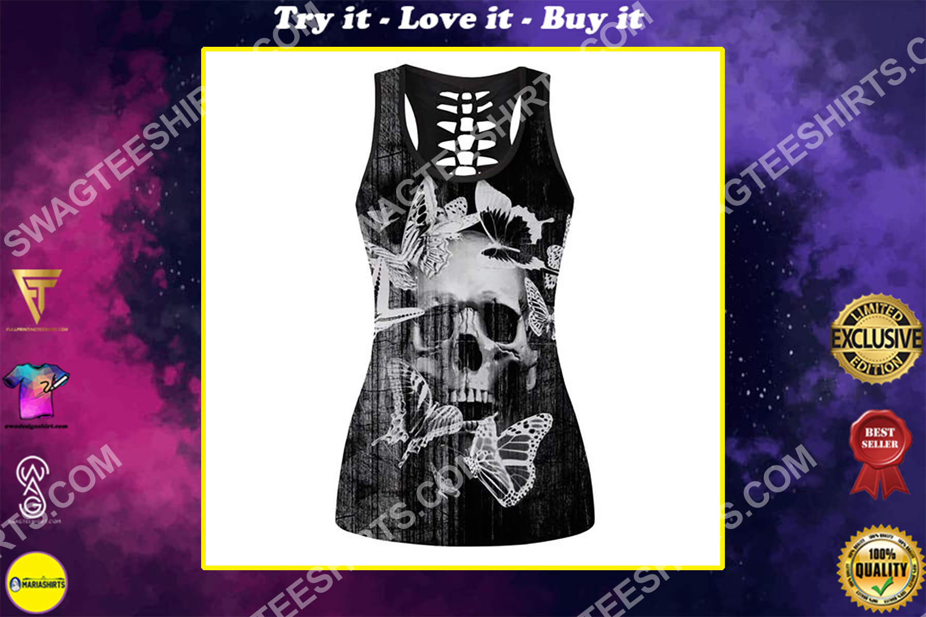 skull and butterfly full printing hollow tank top