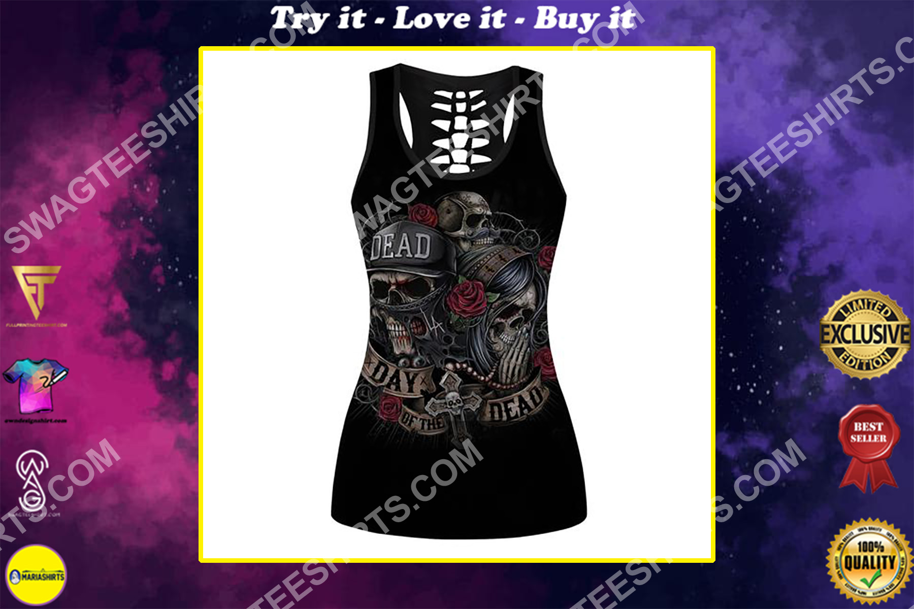 skull couple day of the dead full printing hollow tank top