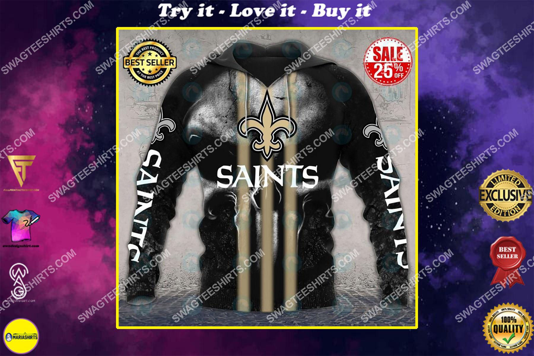skull new orleans saints football team all over printed shirt