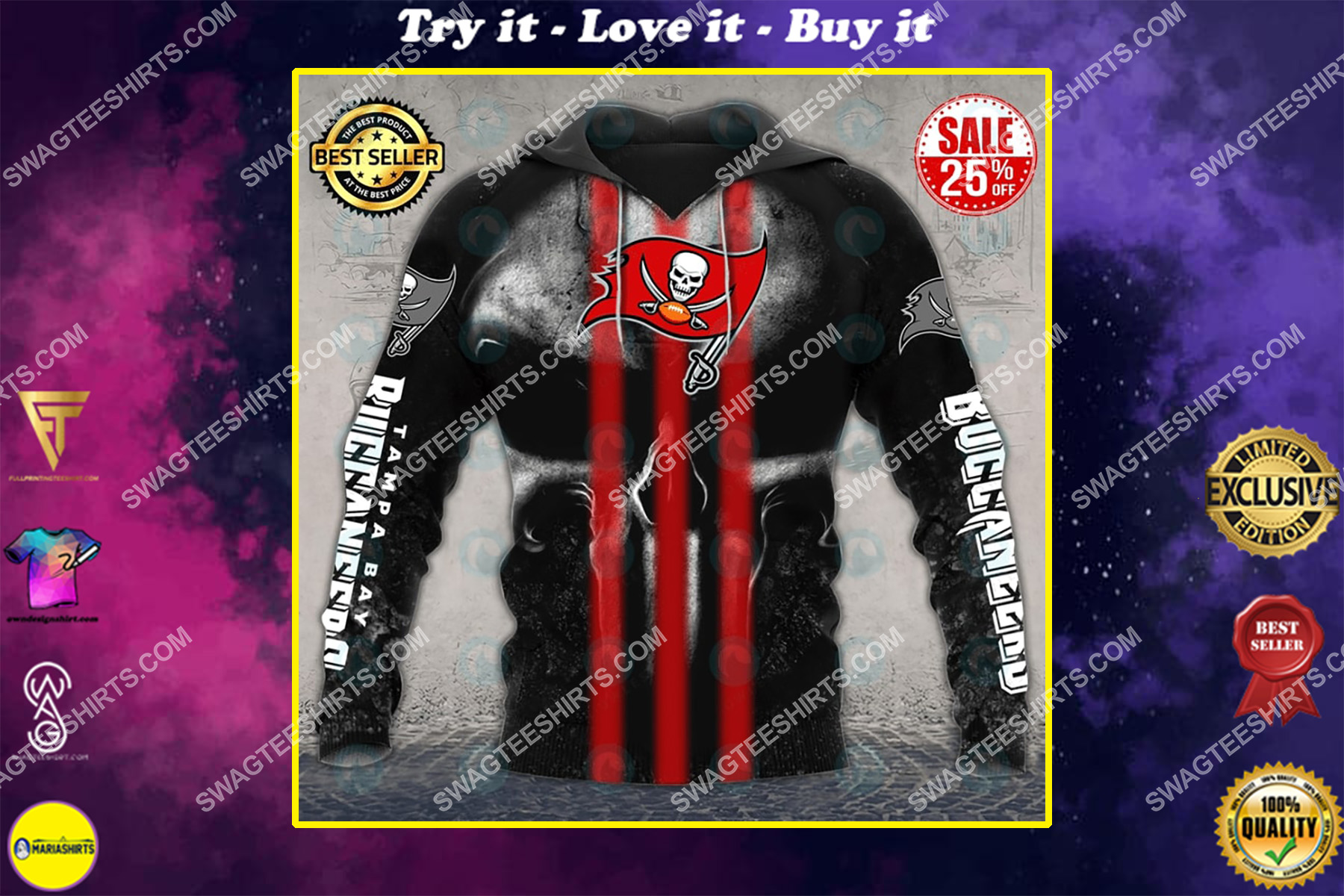 skull tampa bay buccaneers football team all over printed shirt
