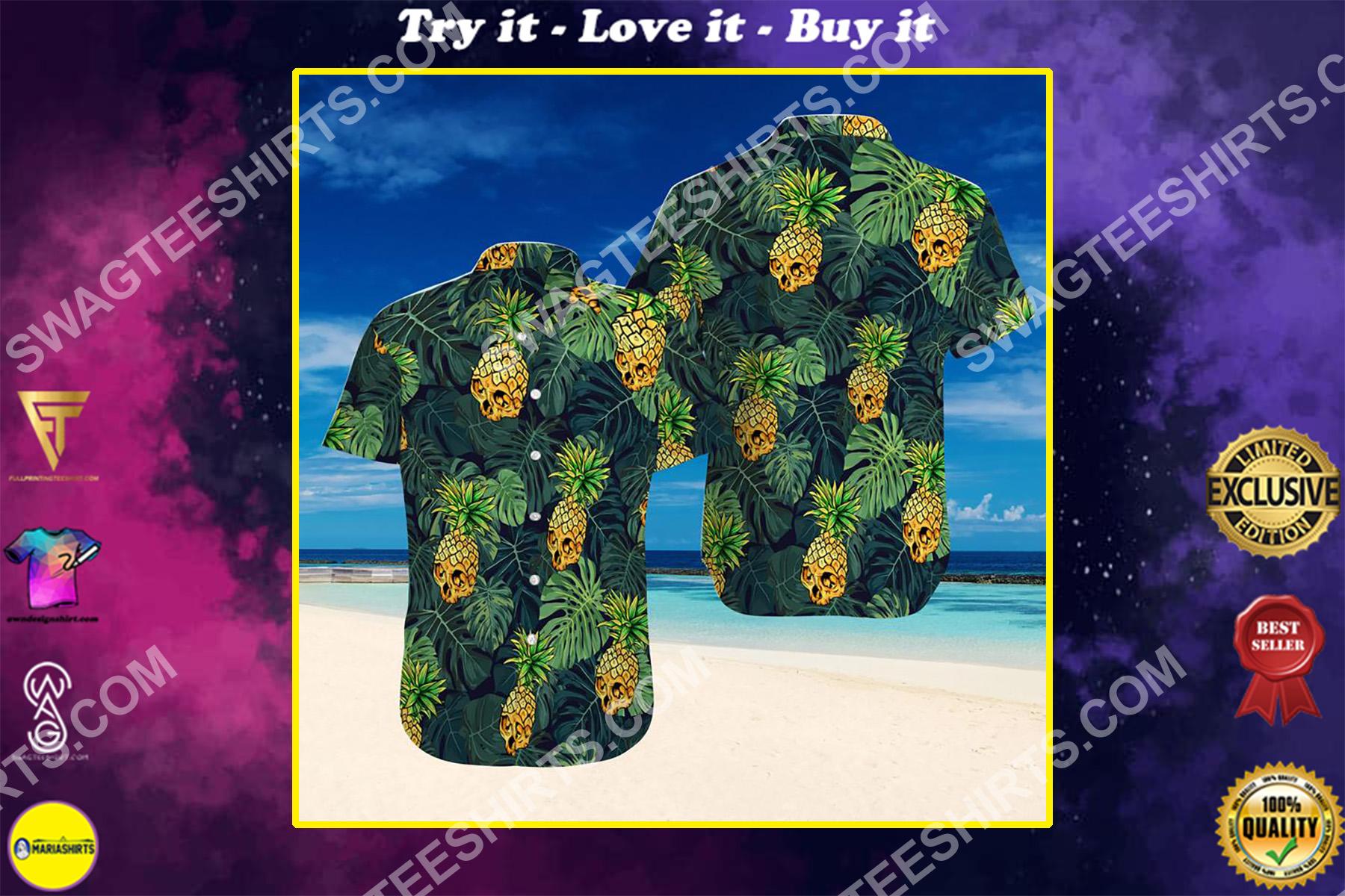 skull tropical pineapple all over printed hawaiian shirt