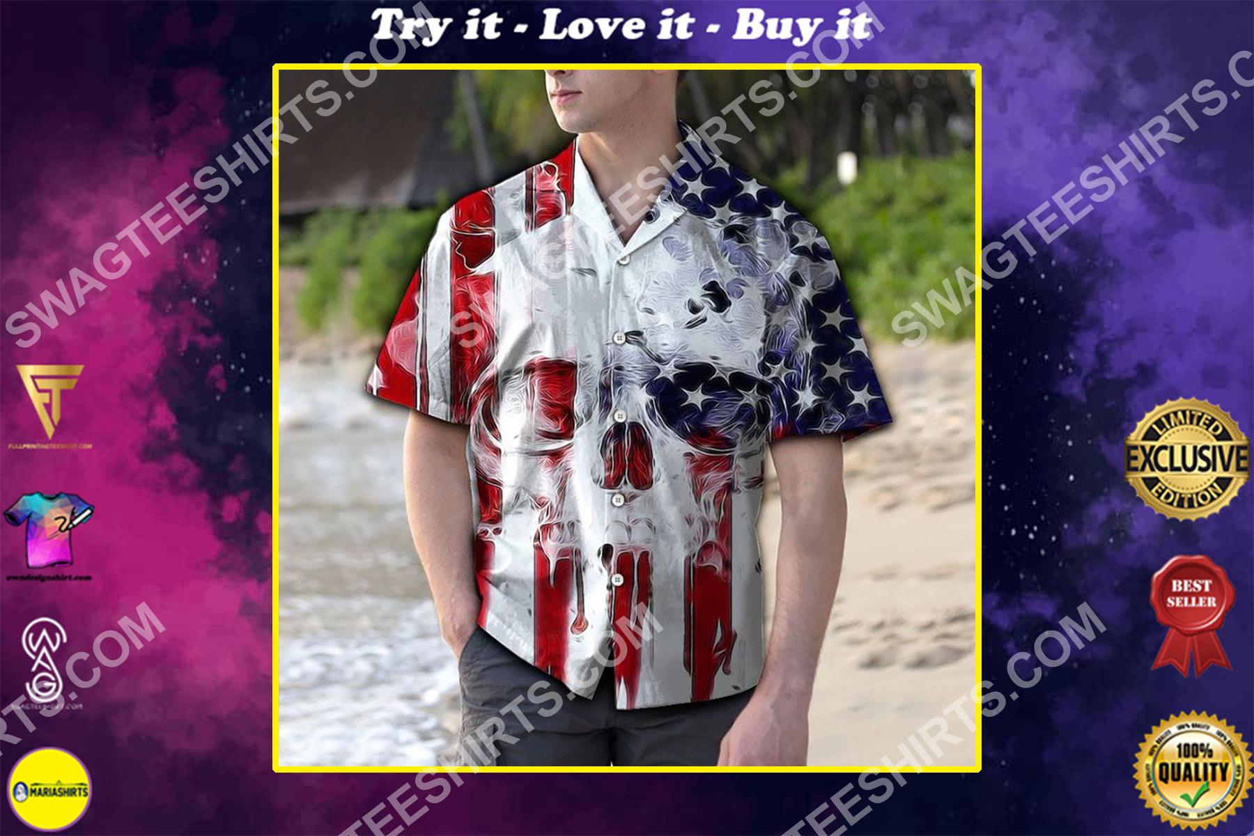 skull usa flag all over printed hawaiian shirt