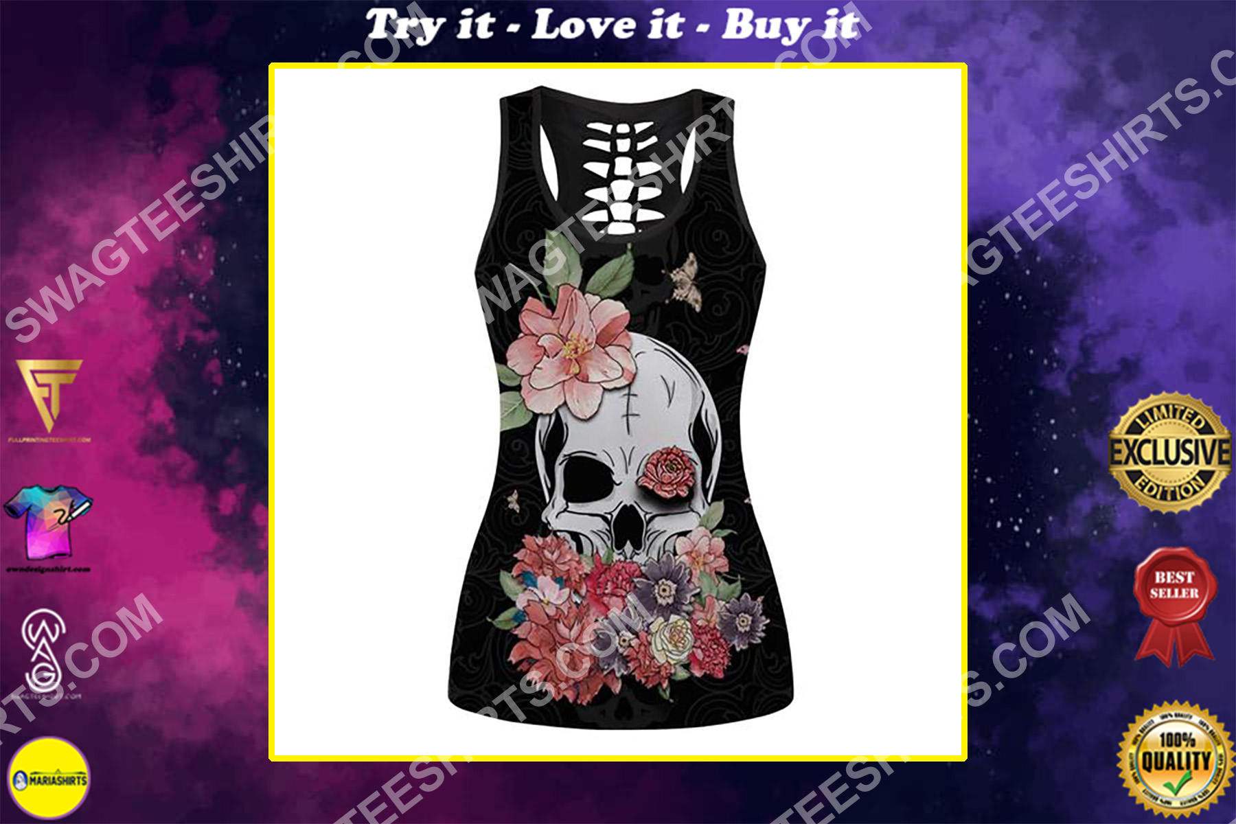 skull with flowers and butterfly full printing hollow tank top