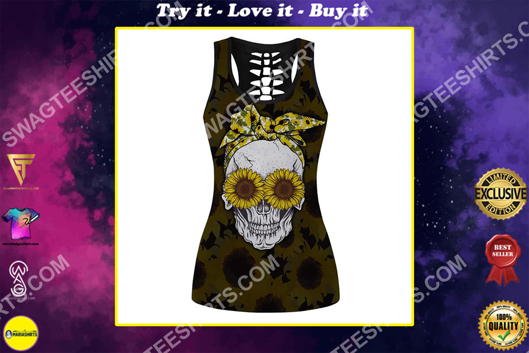 skull with glasses sunflower full printing hollow tank top