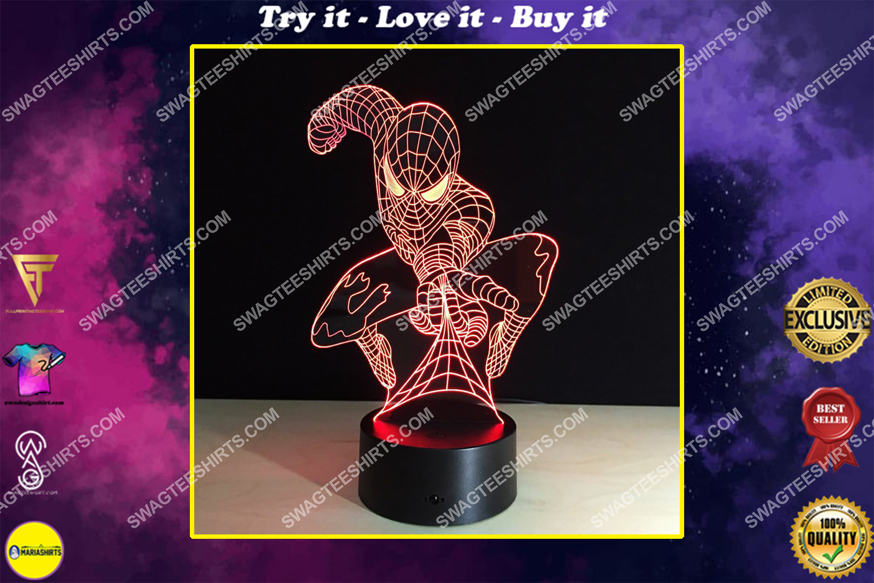 spiderman acrylic marvel 3d night light led