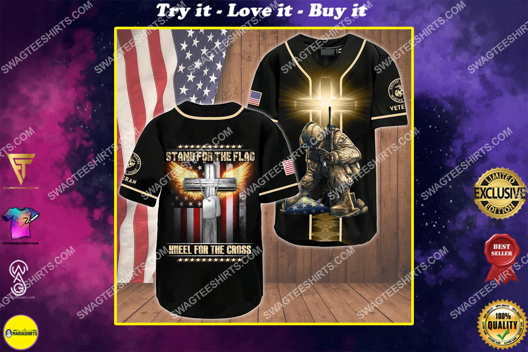 stand for the flag kneel for the Cross marines veteran baseball shirt