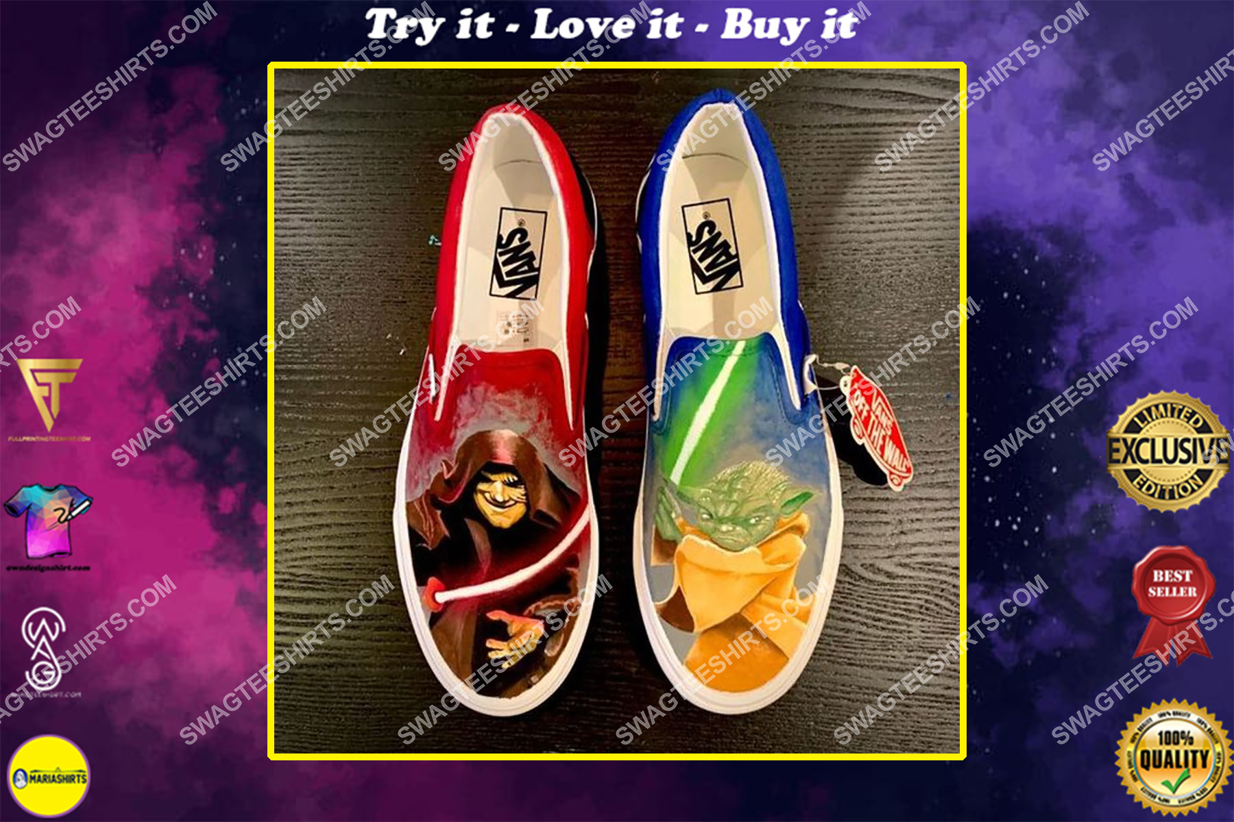 star wars yoda all over print slip on shoes
