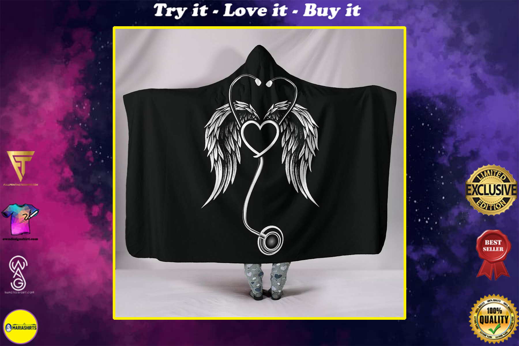 stethoscope with wings nurse full over print hooded blanket