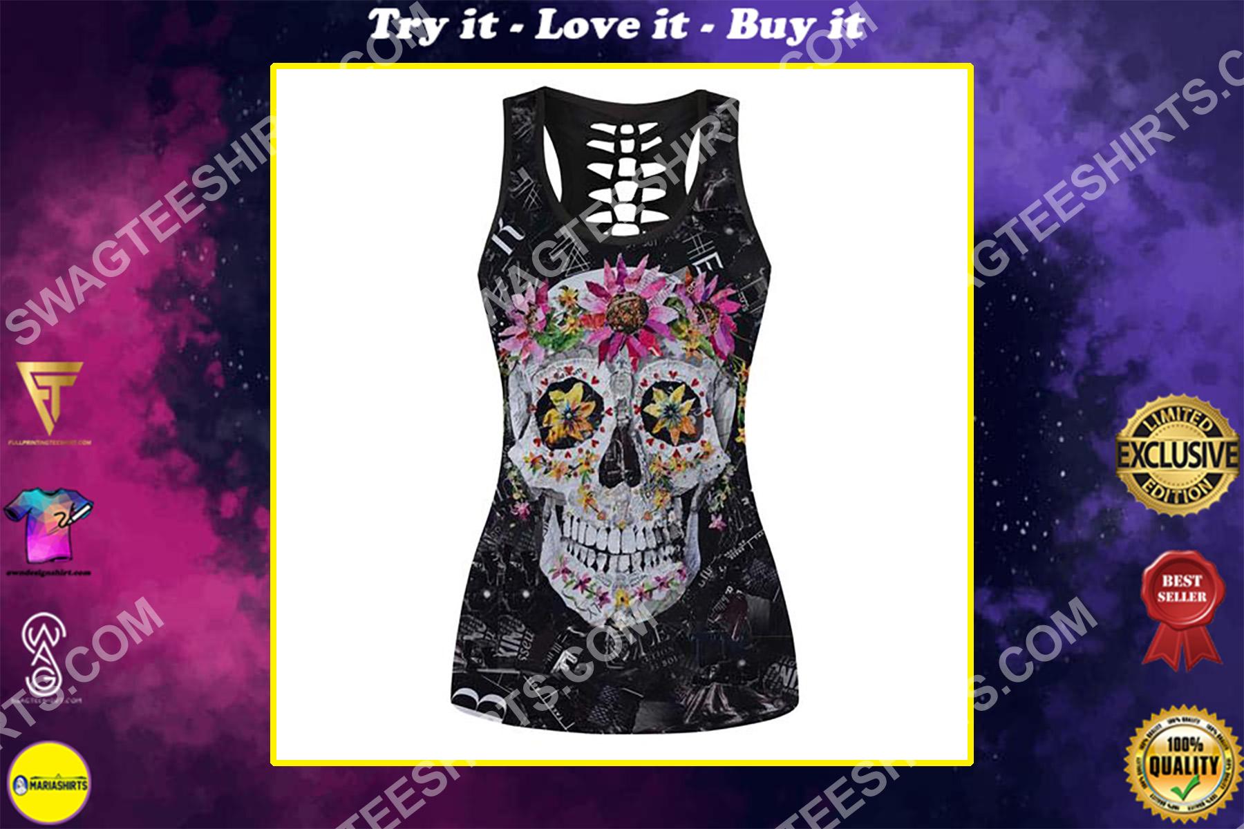 sugar skull floral full printing hollow tank top