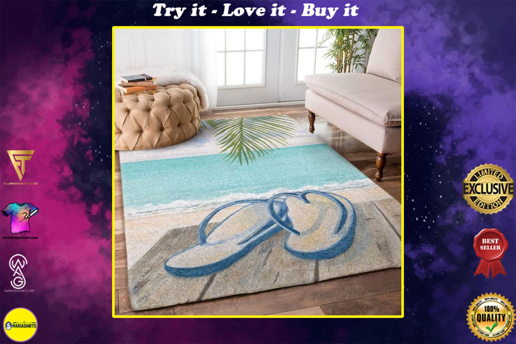 summer time flip flop beach full printing rug
