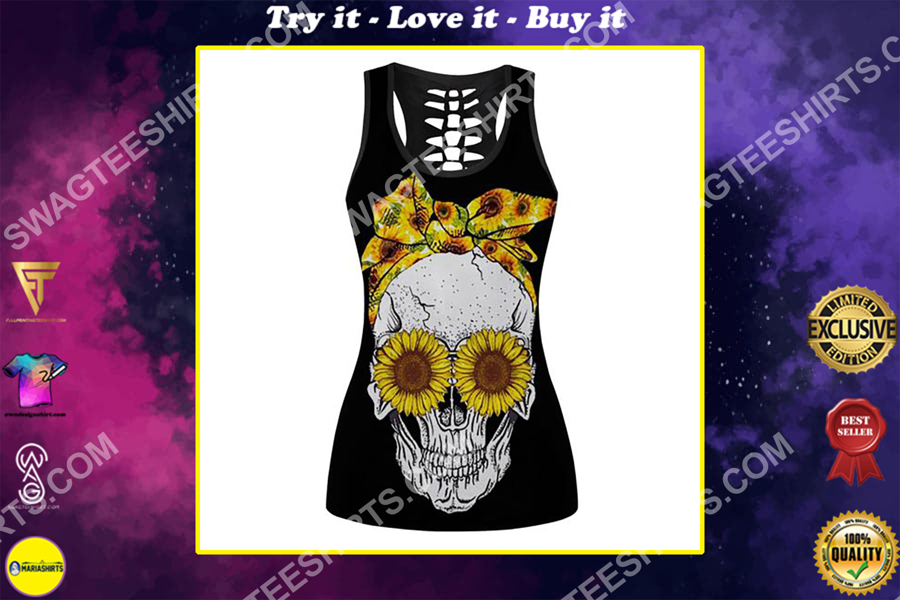 sunflower and skull full printing hollow tank top