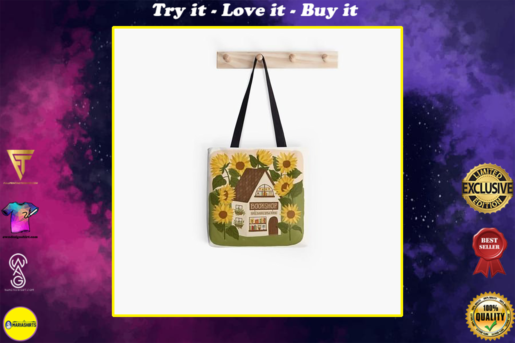 sunflower bookshop book lovers reading all over printed tote bag