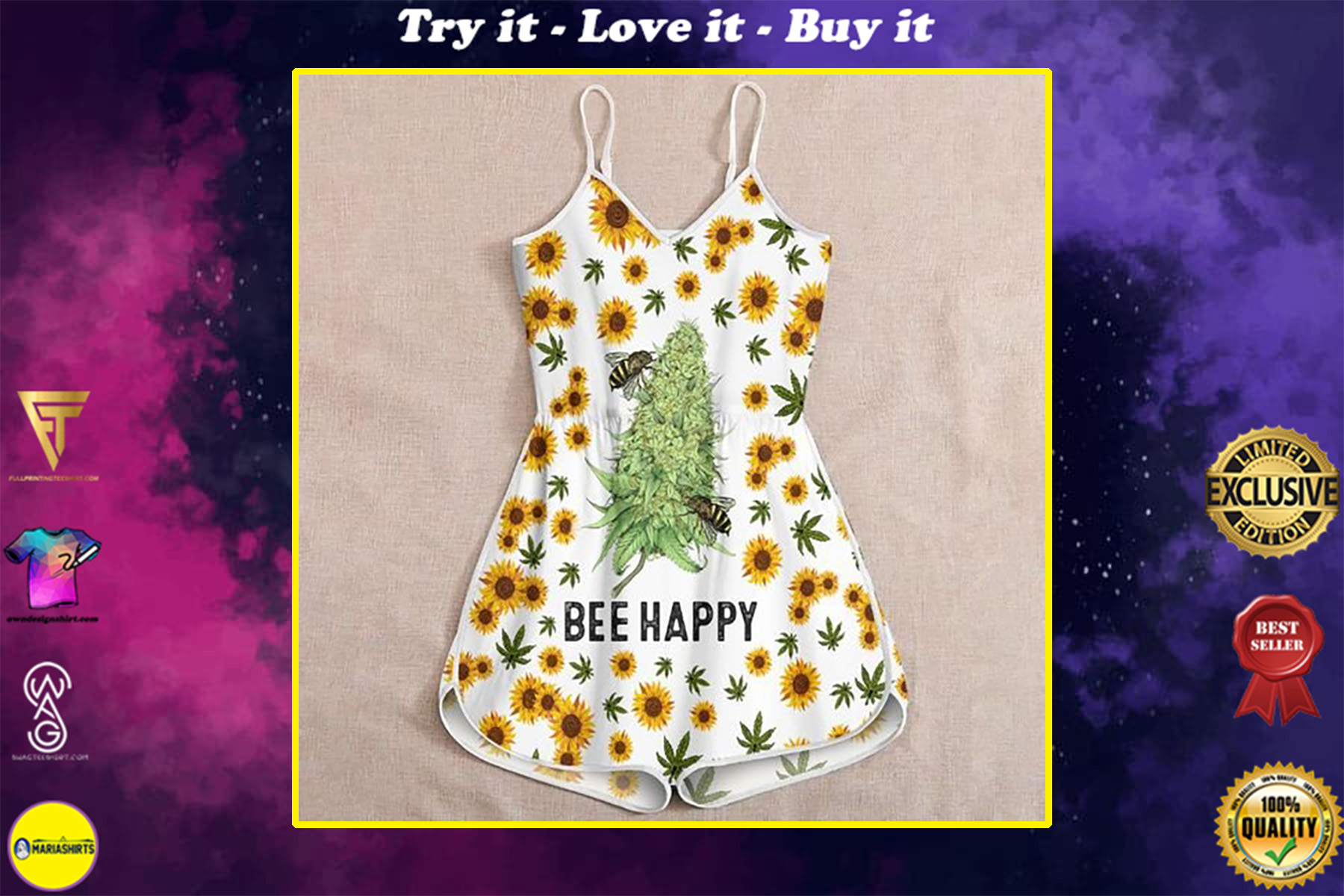 sunflower weed bee happy all over print rompers