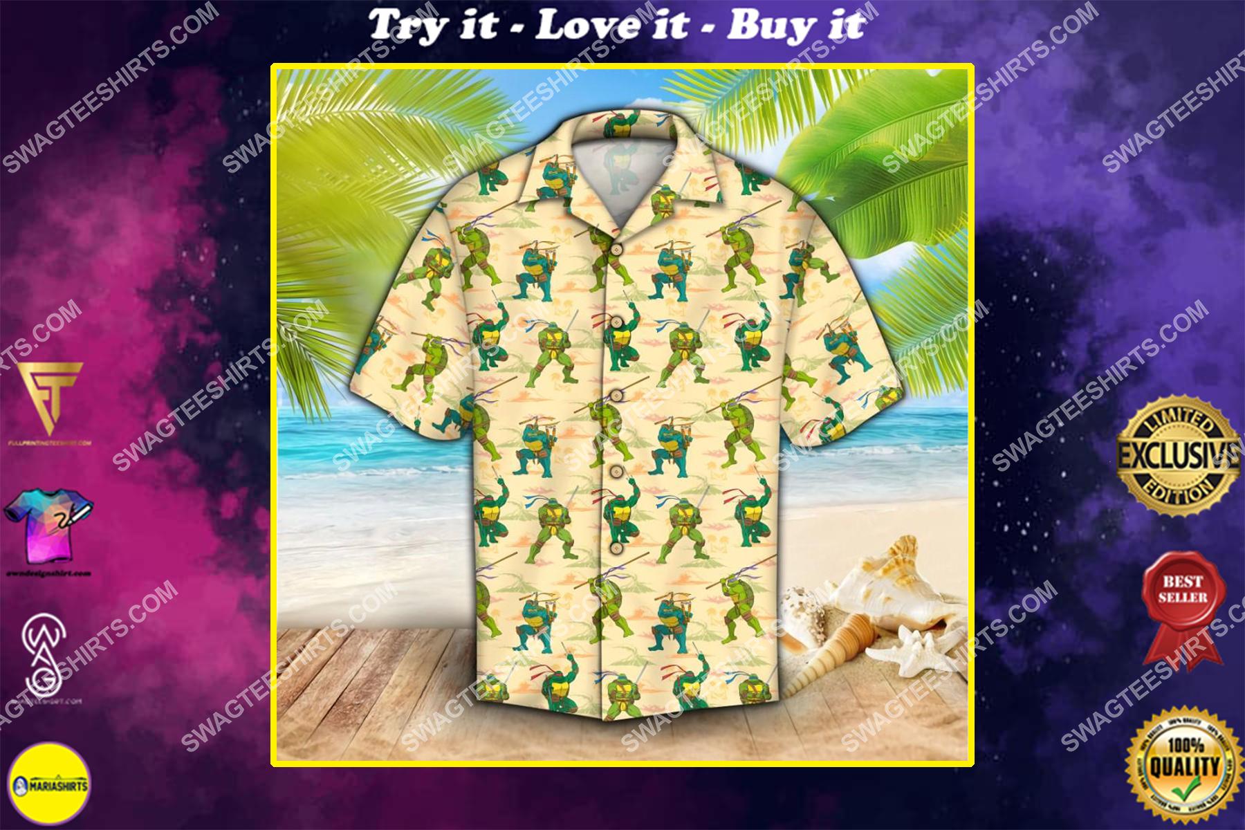 teenage mutant ninja turtles all over print hawaiian shirt