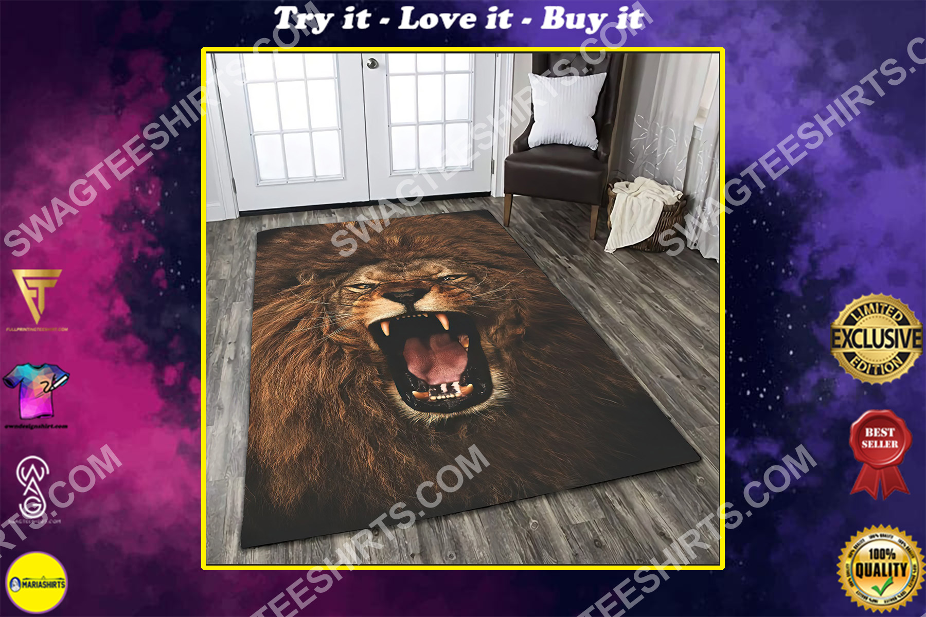 the alpha king lion all over printed rug