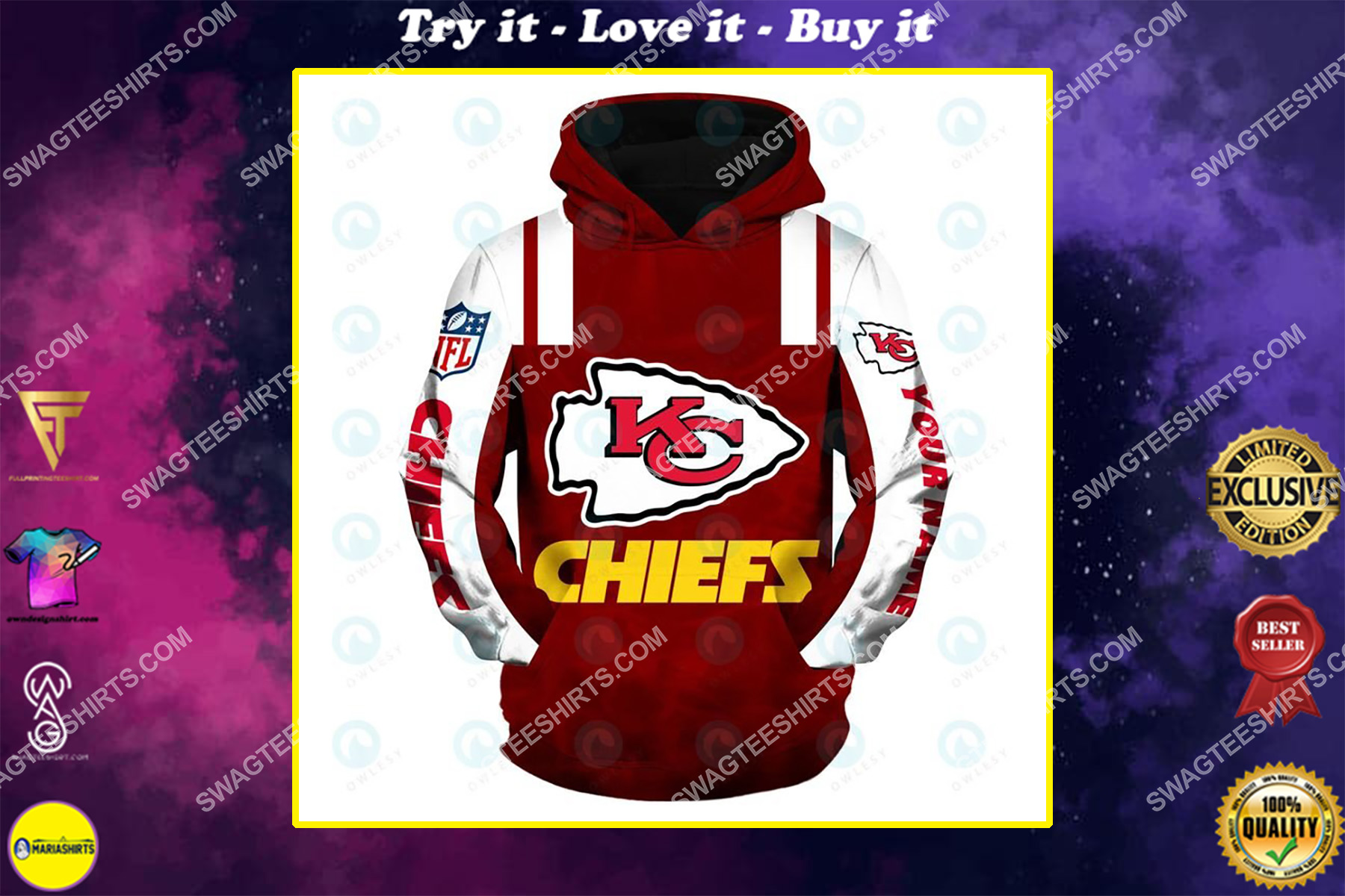 the american football team kansas chiefs all over printed shirt
