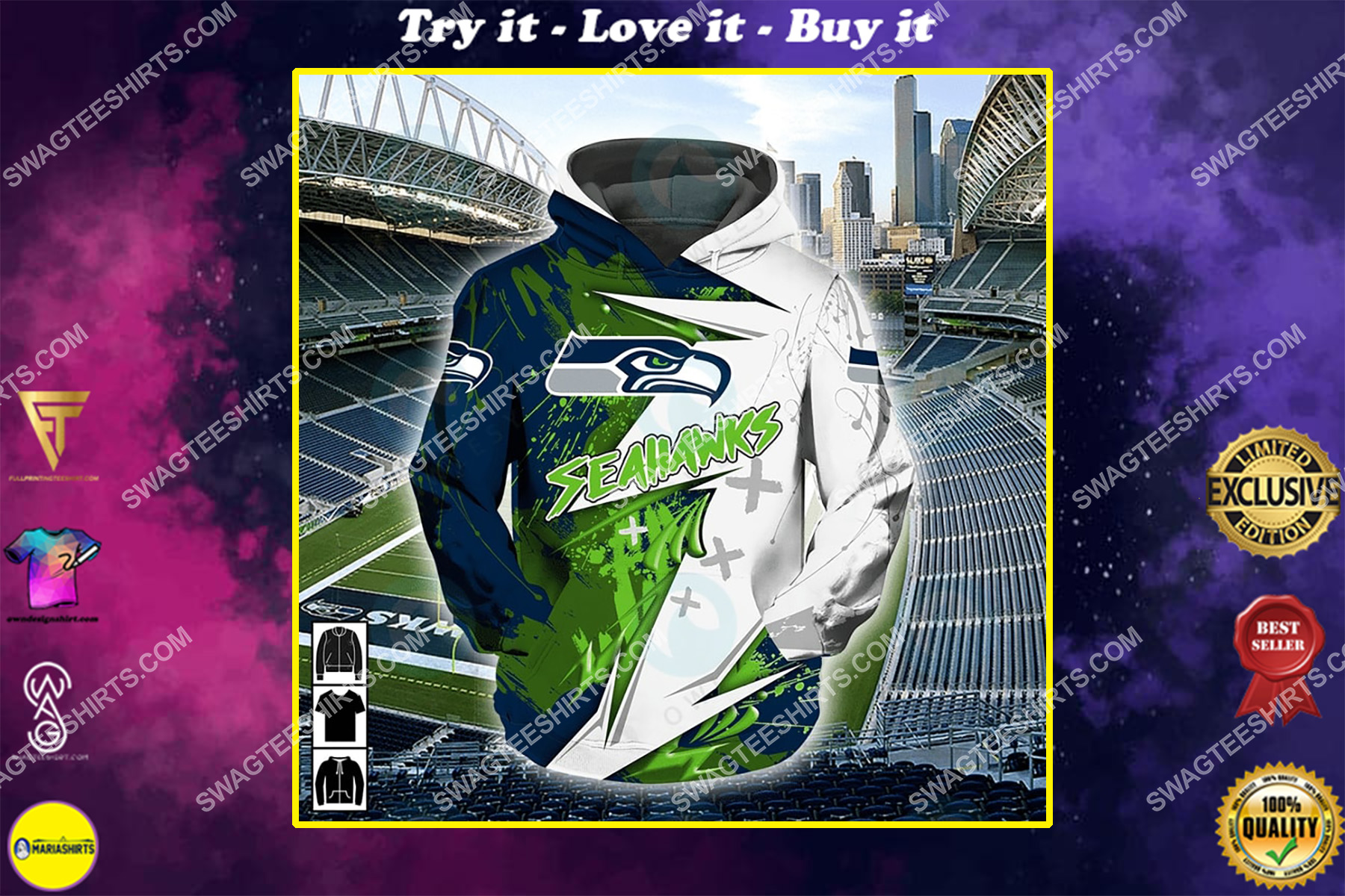 the american football team seattle seahawks all over printed shirt