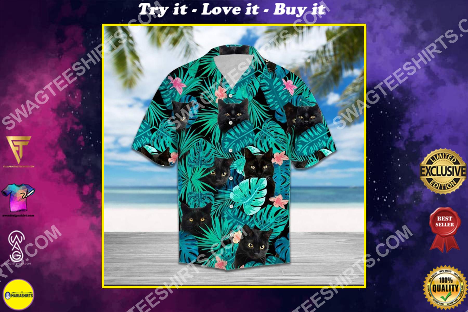 the black cat all over printed hawaiian shirt