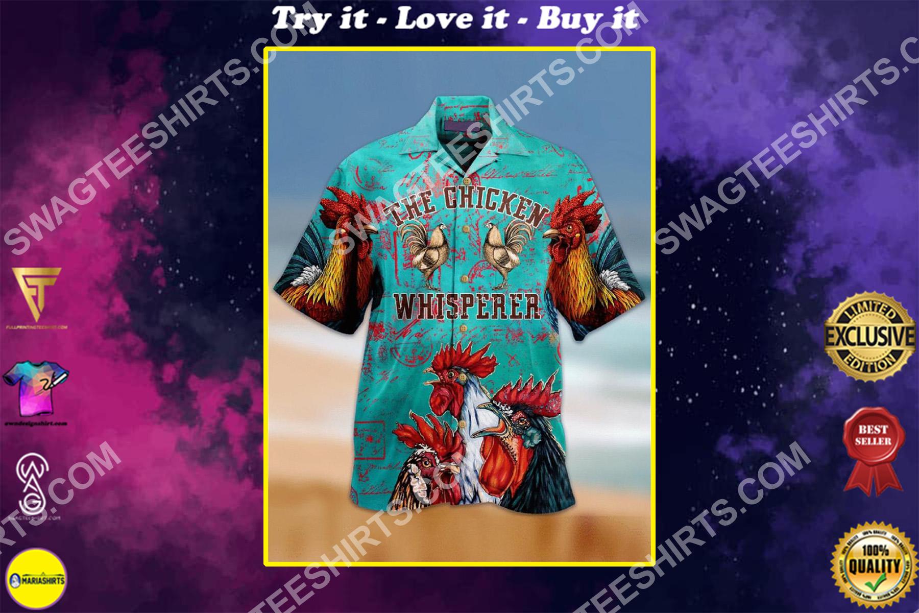 the chicken whisperer all over printing hawaiian shirt