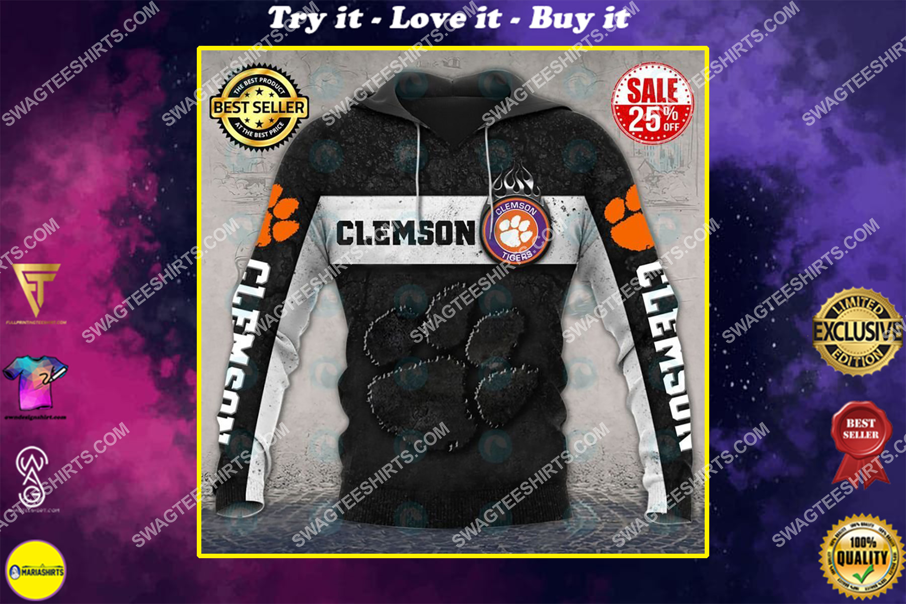 the clemson tigers football team all over printed shirt