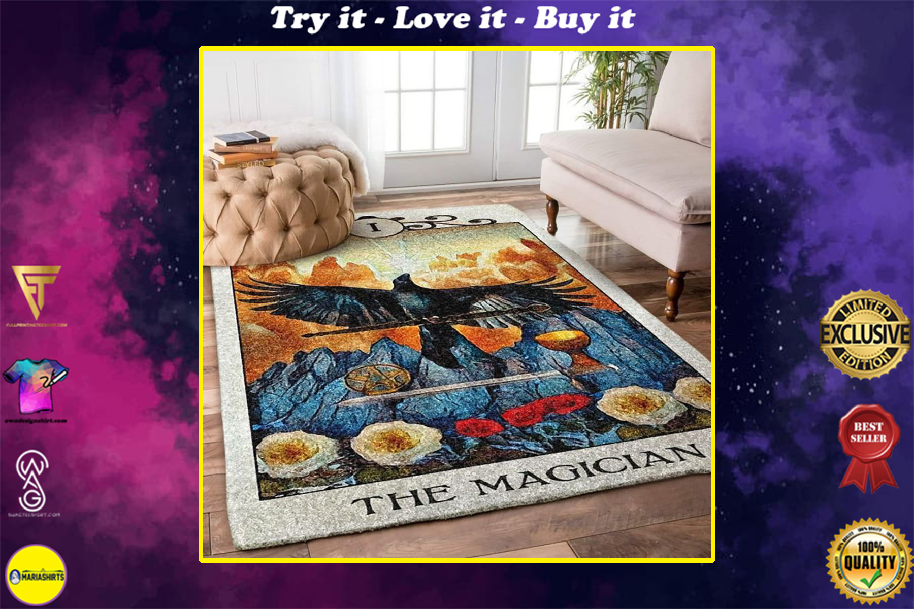 the crow the magician all over printed rug