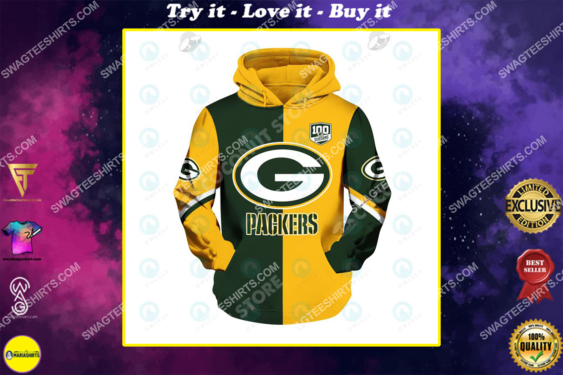 the football team green bay packers all over printed shirt