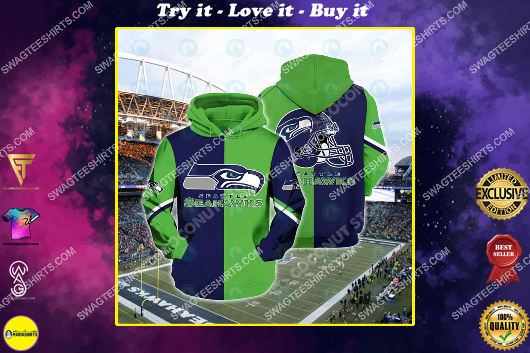 the football team seattle seahawks all over printed shirt