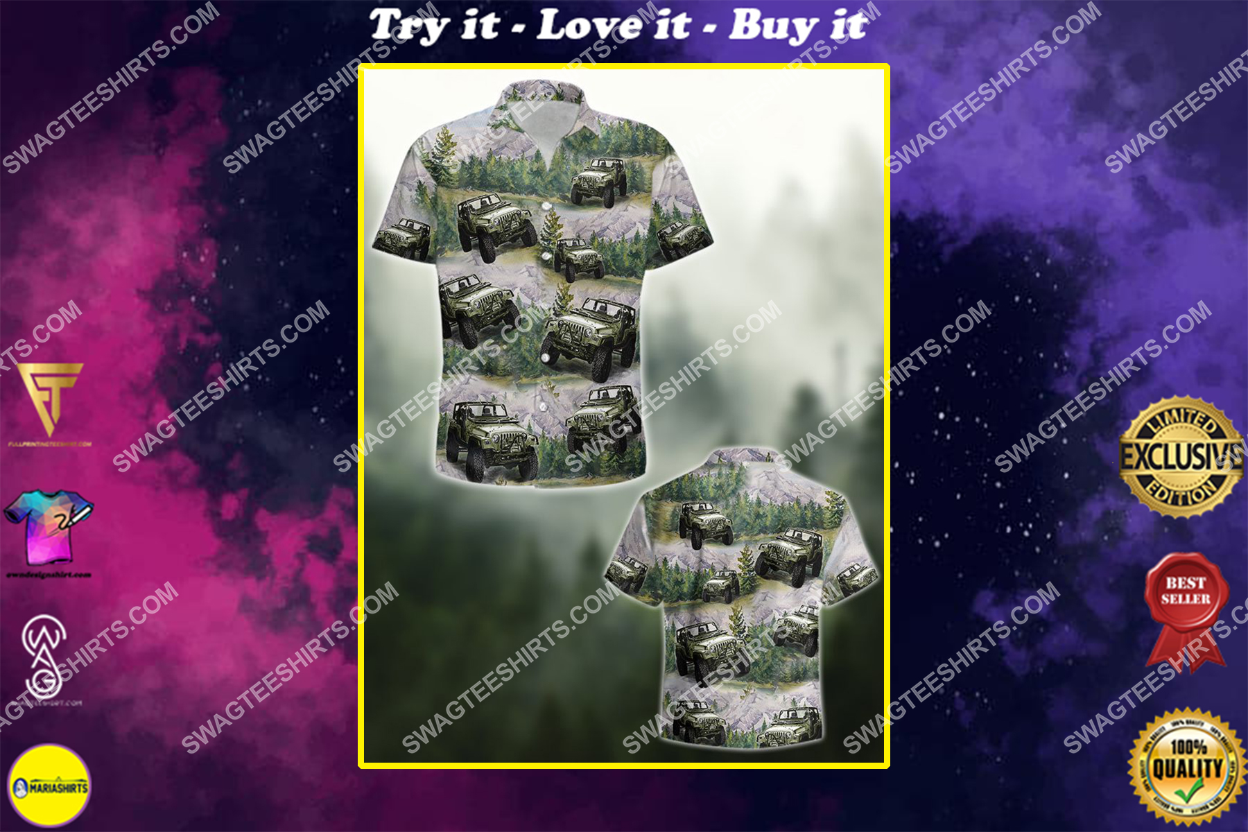 the jeep forest all over printed hawaiian shirt