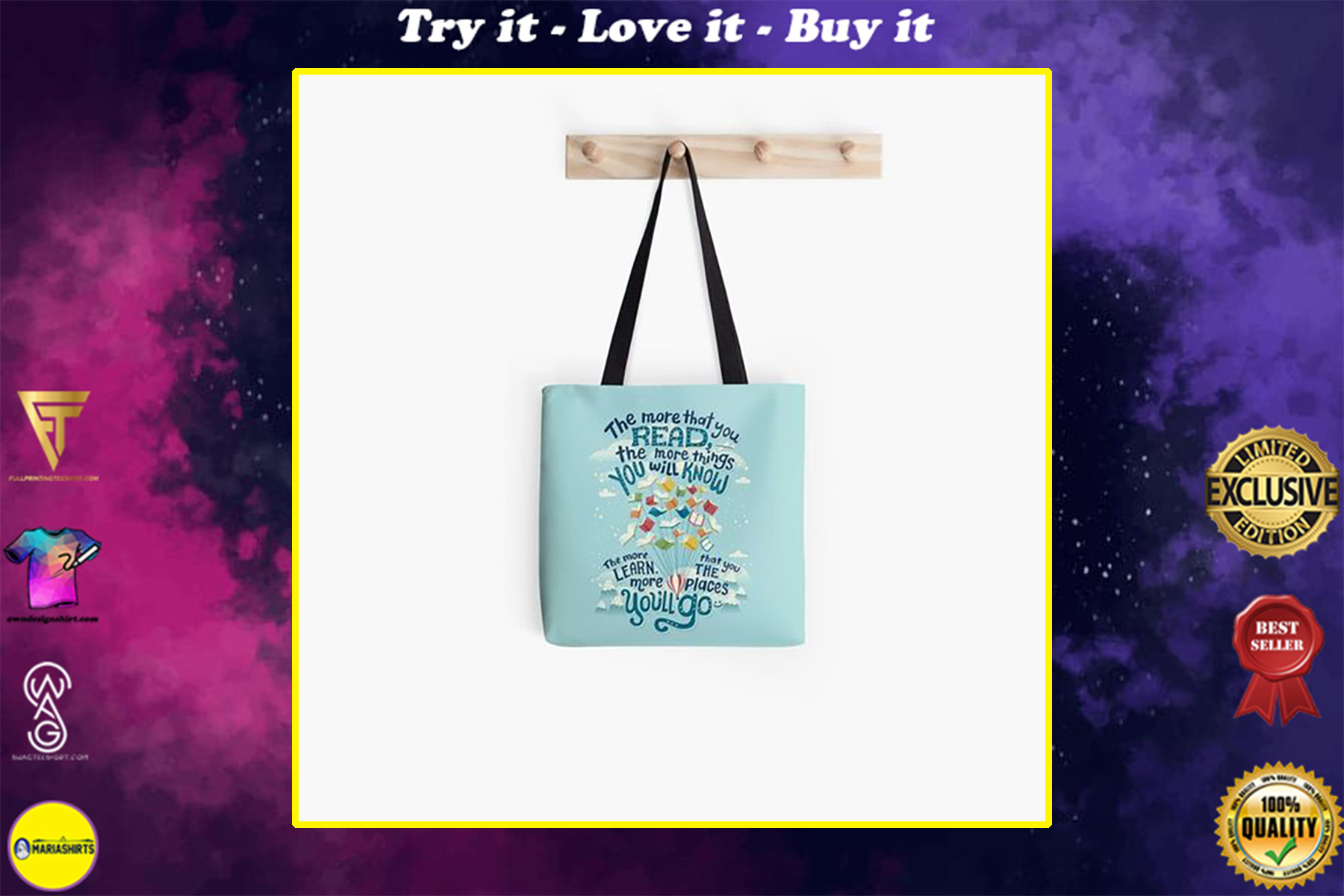 the more that you read the more things you will know tote bag