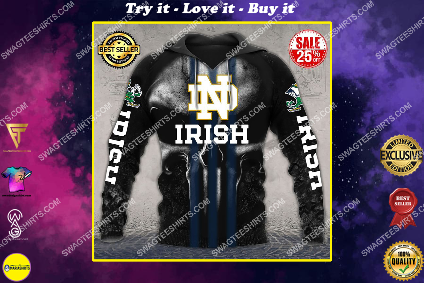 the notre dame fighting irish football all over printed shirt