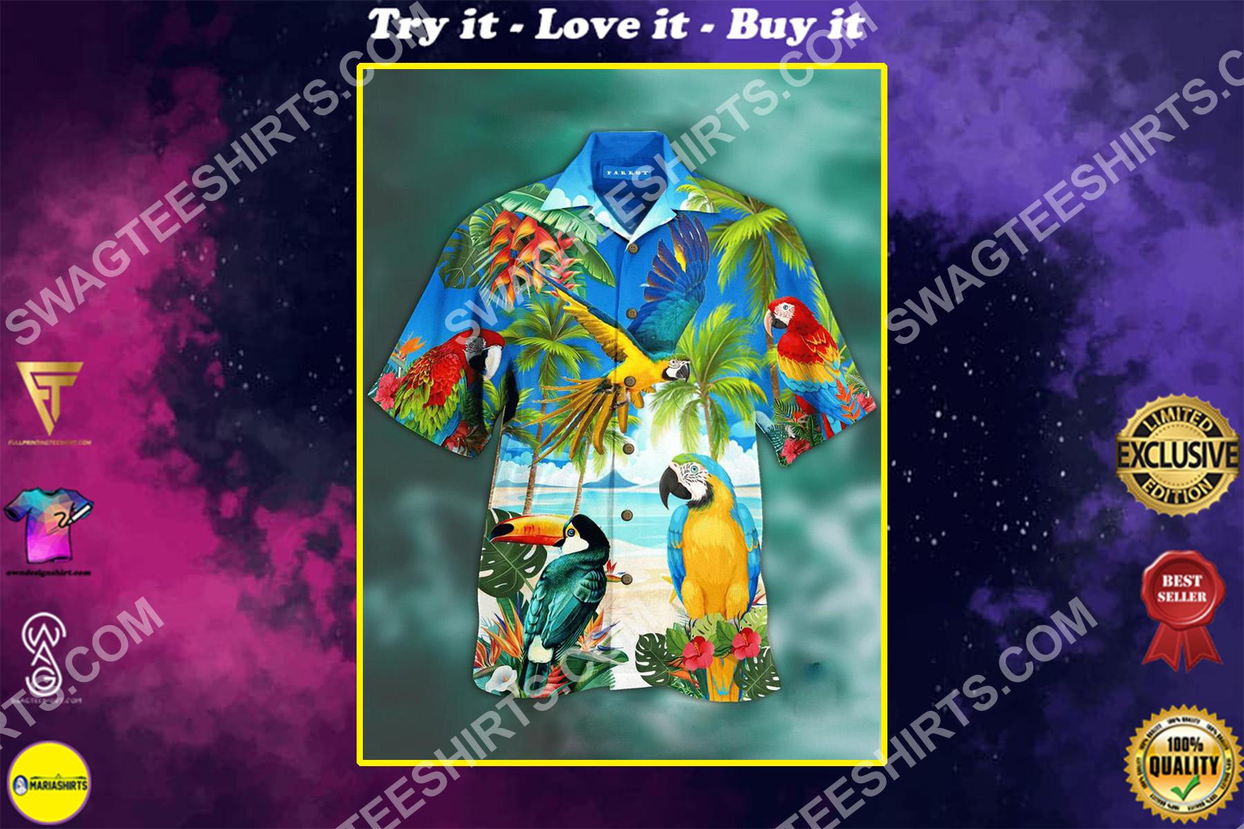the parrots tropical all over printing hawaiian shirt