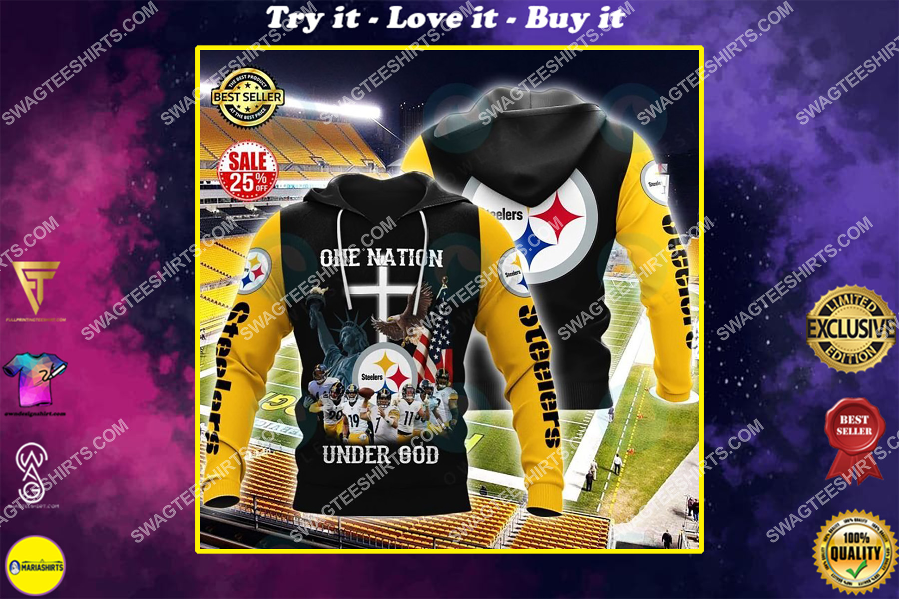 the pittsburgh steelers football one nation under God all over printed shirt