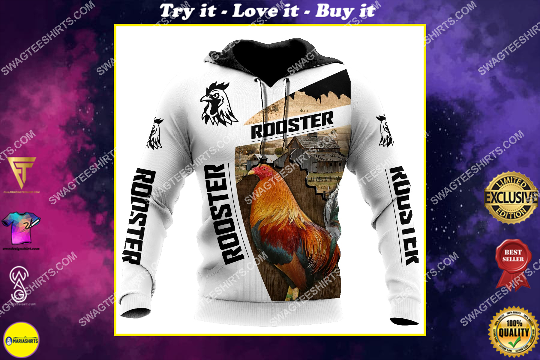 the rooster chicken and farm life full printing shirt 1