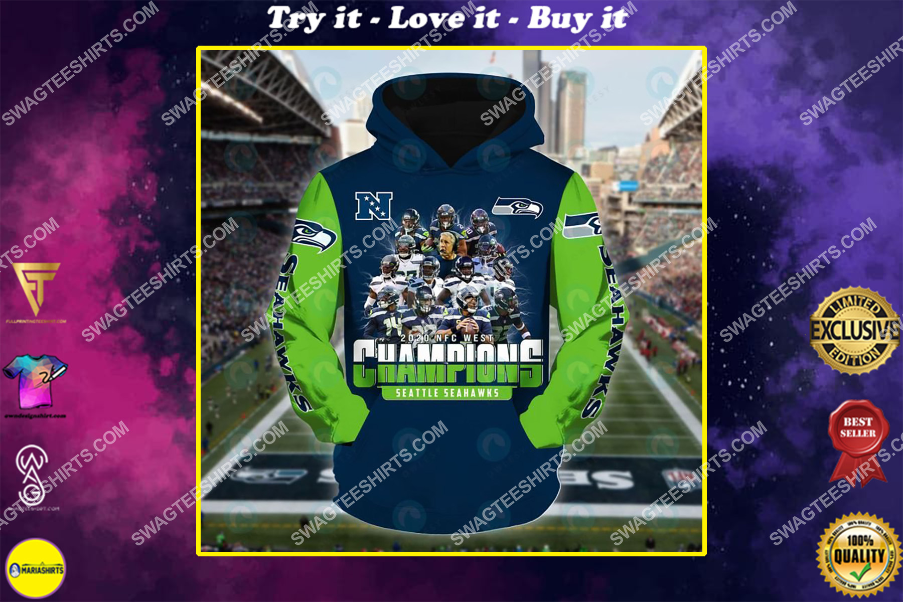 the seattle seahawks american football team all over printed shirt
