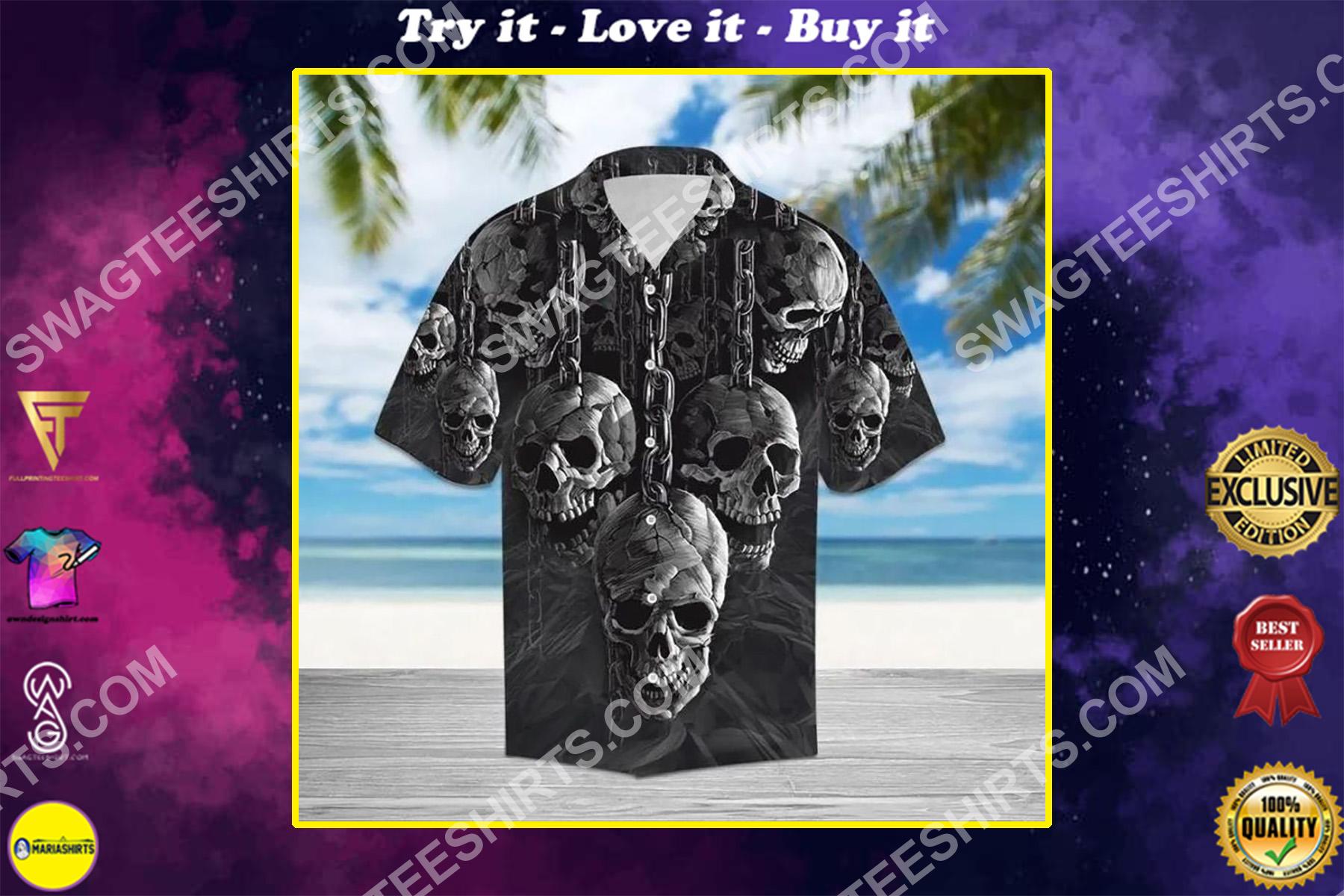 the skull all over printed hawaiian shirt